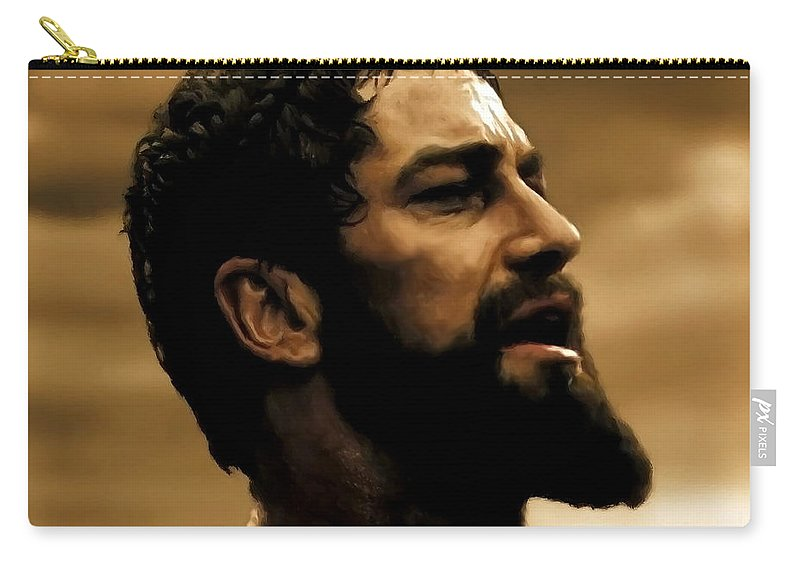 Gerard Butler Carry-all Pouch featuring the digital art Gerard Butler In 300 by Carl Gouveia