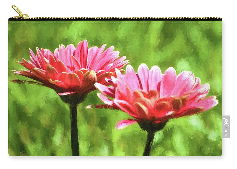 Gerbera Daisies Carry-all Pouch featuring the photograph Gerbera Daisies To Brighten Your Day by Sandi OReilly