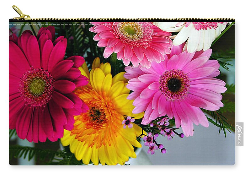 Flower Carry-all Pouch featuring the photograph Gerbera Daisy Bouquet by Marilyn Hunt