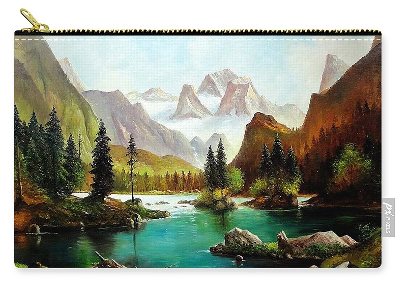 Oil Painting Carry-all Pouch featuring the painting German Alps by John Lyes