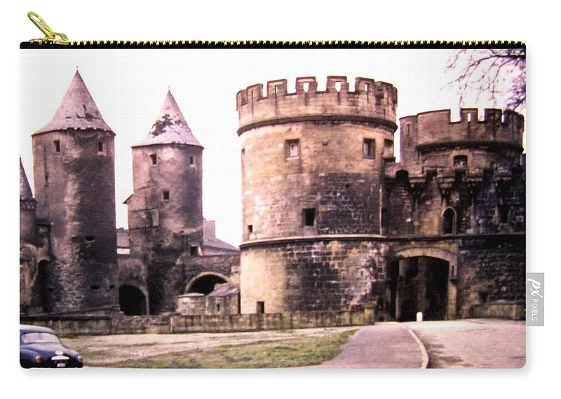 1955 Carry-all Pouch featuring the photograph German Gate In Metz 1955 by Will Borden