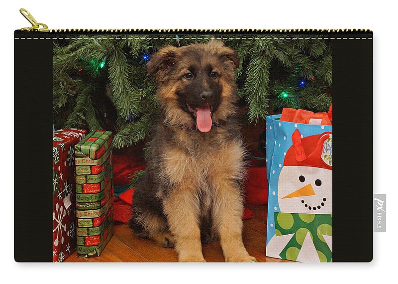 Holiday Card Carry-all Pouch featuring the photograph German Shepherd Puppy Card by Sandy Keeton