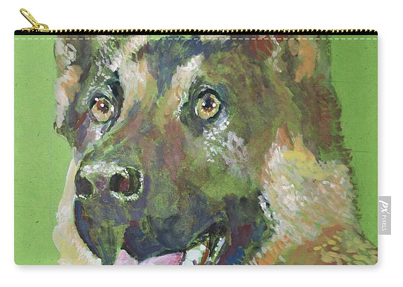 Dog Carry-all Pouch featuring the painting German Shephered by Khalid Saeed