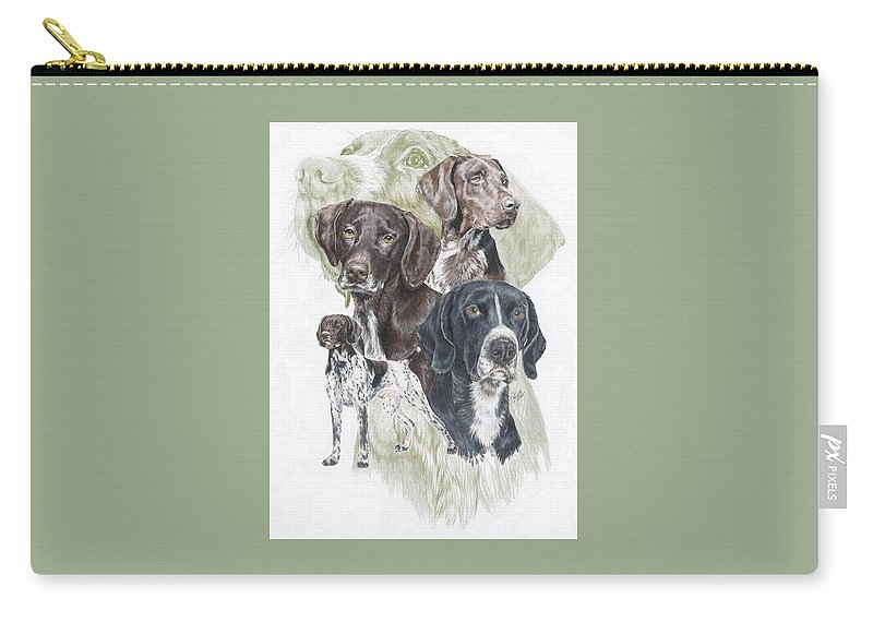 Gshp Carry-all Pouch featuring the mixed media German Shorted-haired Pointer Revamp by Barbara Keith
