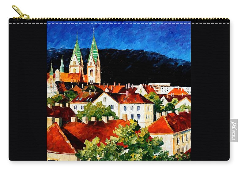 City Carry-all Pouch featuring the painting Germany - Freiburg by Leonid Afremov
