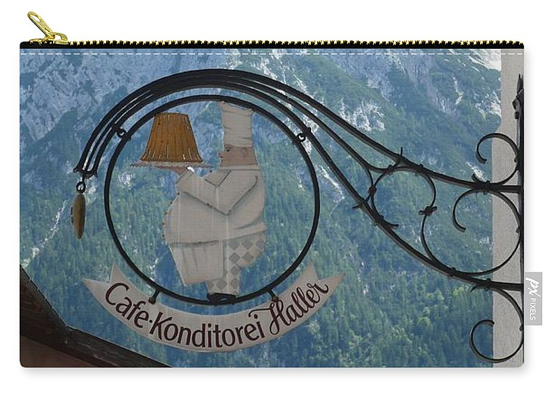 Bavarian Alps Carry-all Pouch featuring the photograph Germany - Cafe Sign by Carol Groenen