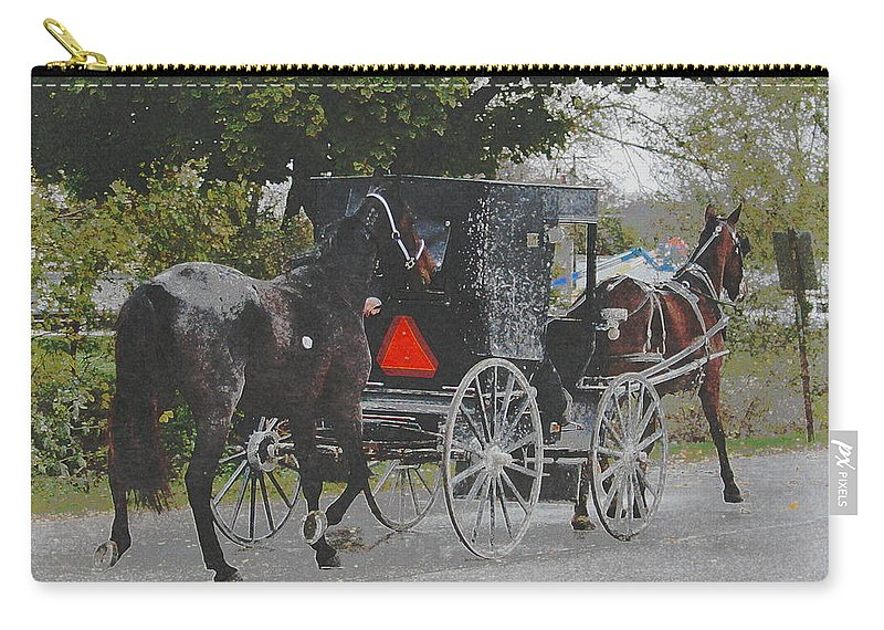 Angelandspot Carry-all Pouch featuring the photograph Getting The New Horse Home by Cassie Peters