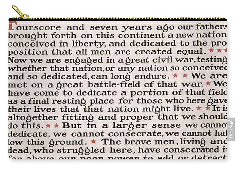 gettysburg Address Carry-all Pouch featuring the photograph Gettysburg Address by International Images