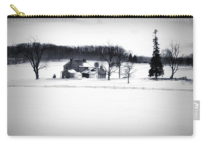 Gettysburg Carry-all Pouch featuring the photograph Gettysburg Farm In Winter by Bill Cannon