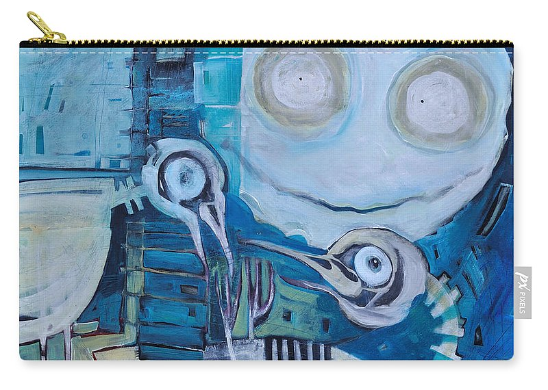 Bird Carry-all Pouch featuring the painting Ghost Birds At Play by Tim Nyberg