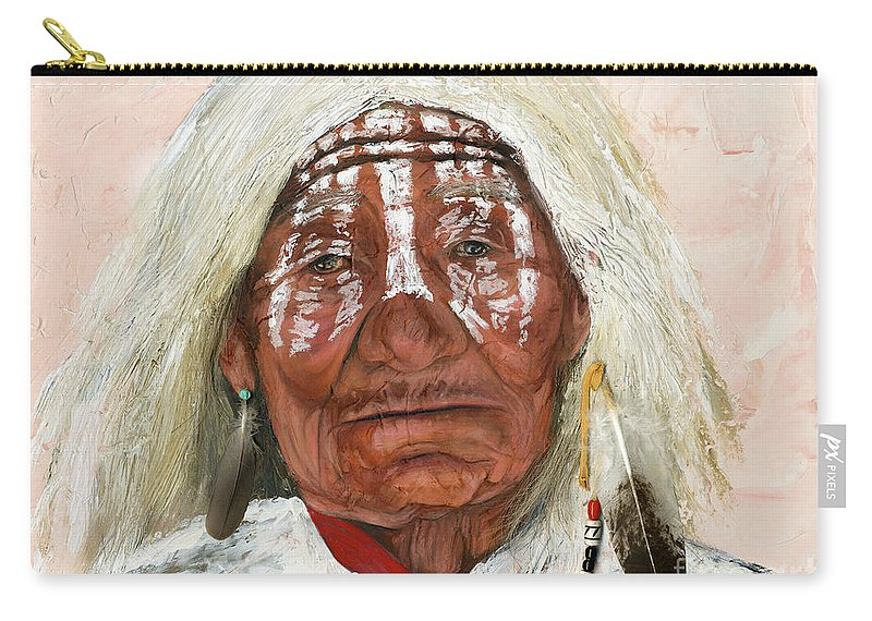 Southwest Art Carry-all Pouch featuring the painting Ghost Shaman by J W Baker