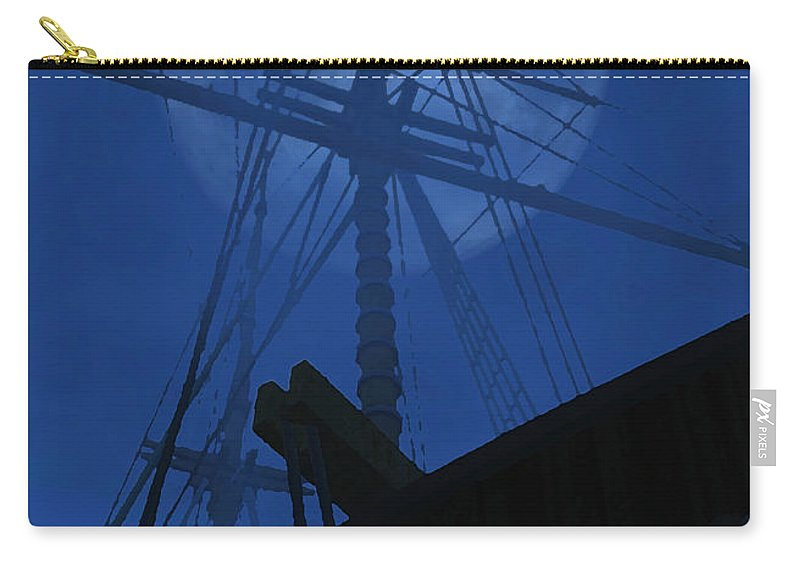 Ghost Ship Carry-all Pouch featuring the digital art Ghost Ship by Richard Rizzo