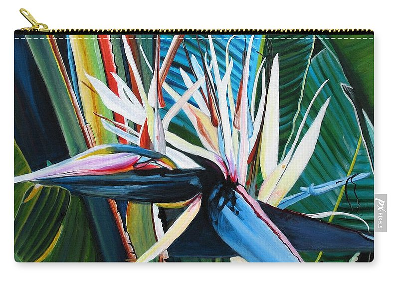 Bird Carry-all Pouch featuring the painting Giant Bird Of Paradise by Marionette Taboniar