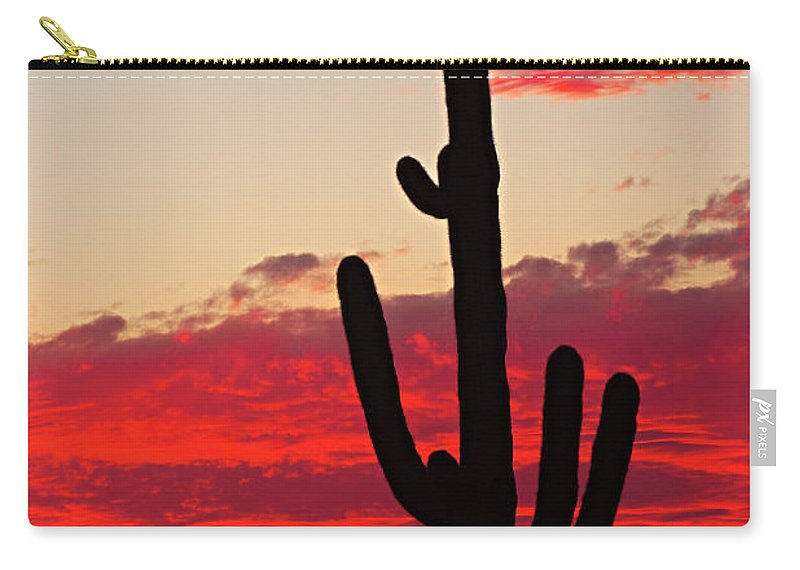 Sunset Carry-all Pouch featuring the photograph Giant Saguaro Southwest Desert Sunset by James BO Insogna