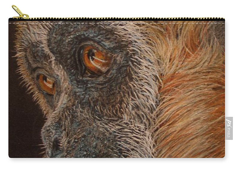 Animals Carry-all Pouch featuring the drawing Gibbon by Karen Ilari