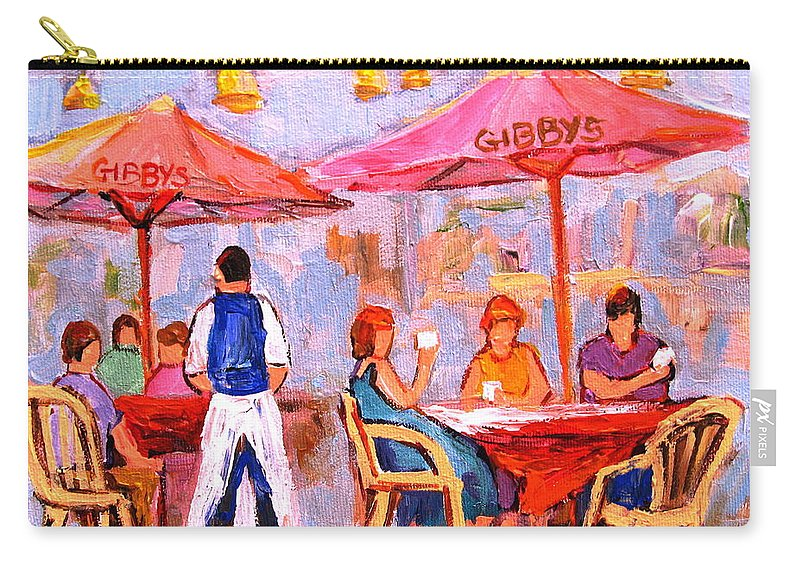 Gibbys Restaurant Montreal Street Scenes Carry-all Pouch featuring the painting Gibbys Cafe by Carole Spandau
