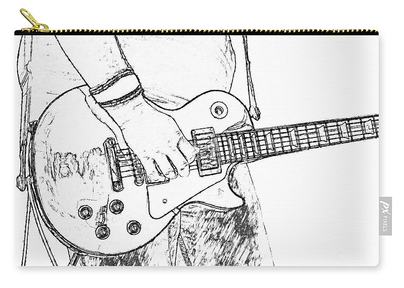 Les Paul Carry-all Pouch featuring the digital art Gibson Les Paul Guitar Sketch by Randy Steele