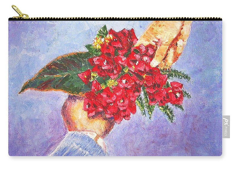 Gift Carry-all Pouch featuring the painting Gift A Bouquet - Bougenvillea by Usha Shantharam