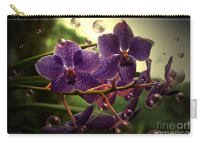 Orchid Bubbles Floral Carry-all Pouch featuring the photograph Giggles by Joanne Smoley
