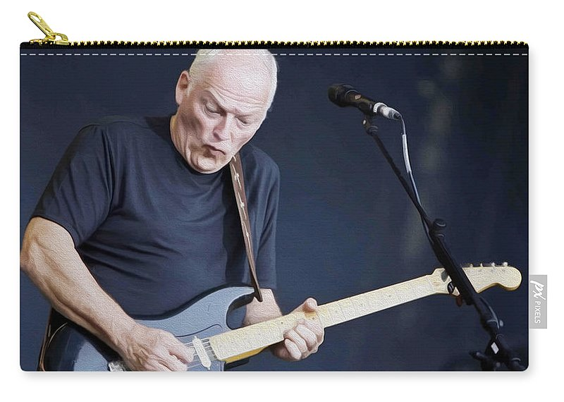 David Gilmour Carry-all Pouch featuring the painting Gilmour #003 By Nixo by Never Say Never