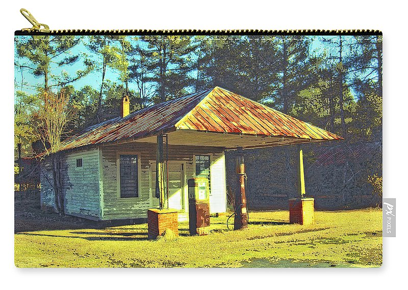 Old Gas Station Carry-all Pouch featuring the mixed media Gil's Gasorama by Dominic Piperata