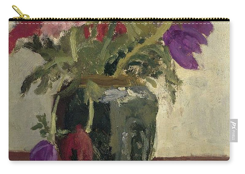 Flower Carry-all Pouch featuring the painting Ginger Pot With Anemones, George Hendrik Breitner, Ca. 1900 - Ca. 1923 by George Hendrik Breitner