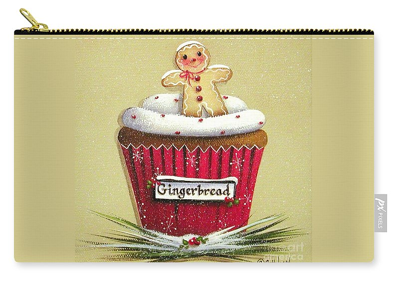 Art Carry-all Pouch featuring the painting Gingerbread Cookie Cupcake by Catherine Holman