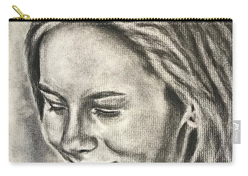 Portrait Girl Head Face Smile Carry-all Pouch featuring the drawing Ginny by Darlene Pyle