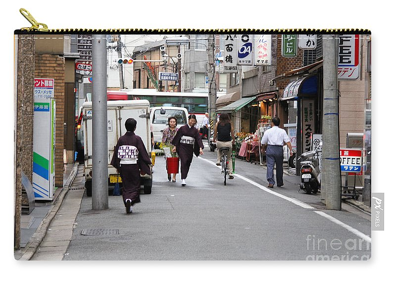 Kyoto Carry-all Pouch featuring the photograph Gion District Street Scene Kyoto Japan by Thomas Marchessault