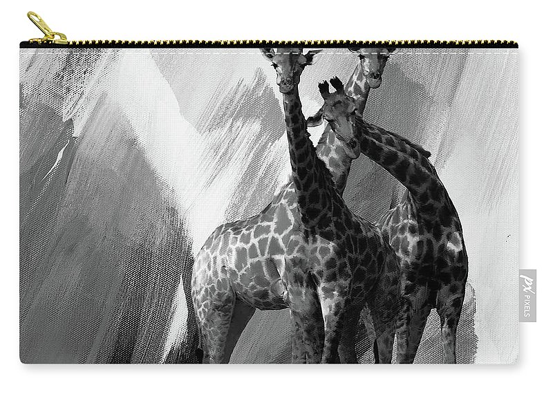 Giraffe Carry-all Pouch featuring the painting Giraffe Abstract Art Black And White by Gull G