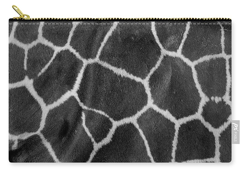 Mammal Carry-all Pouch featuring the photograph Giraffe Black And White by Karen Adams