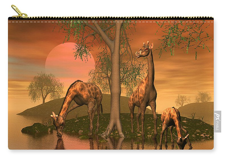 Animals Carry-all Pouch featuring the digital art Giraffe Family By John Junek by John Junek