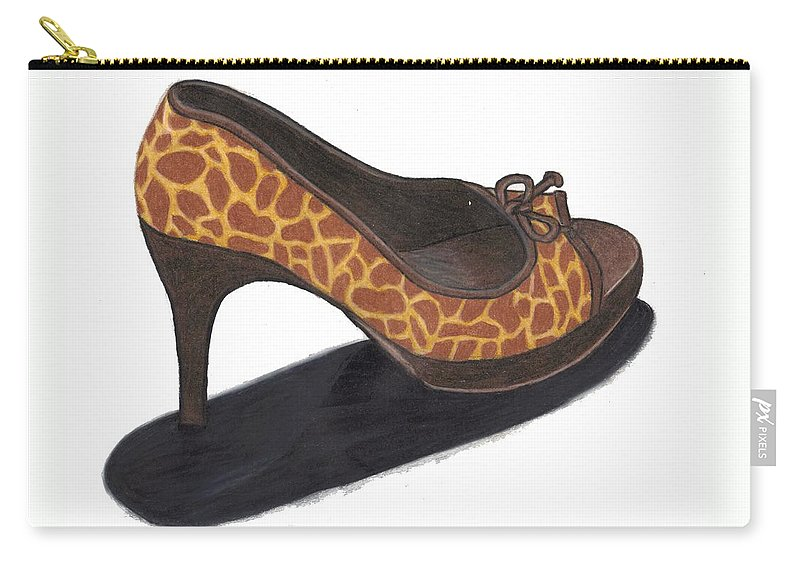 Shoe Carry-all Pouch featuring the drawing Giraffe Heels by Jean Haynes