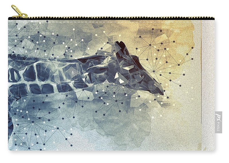 Giraffe Carry-all Pouch featuring the mixed media Giraffe Poly by Francisco Carlos