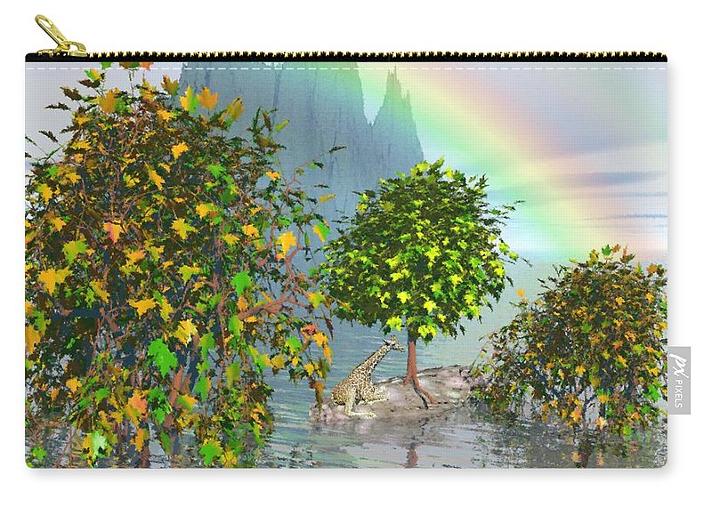 Giraffe Carry-all Pouch featuring the painting Giraffe Rainbow Heaven by Susanna Katherine