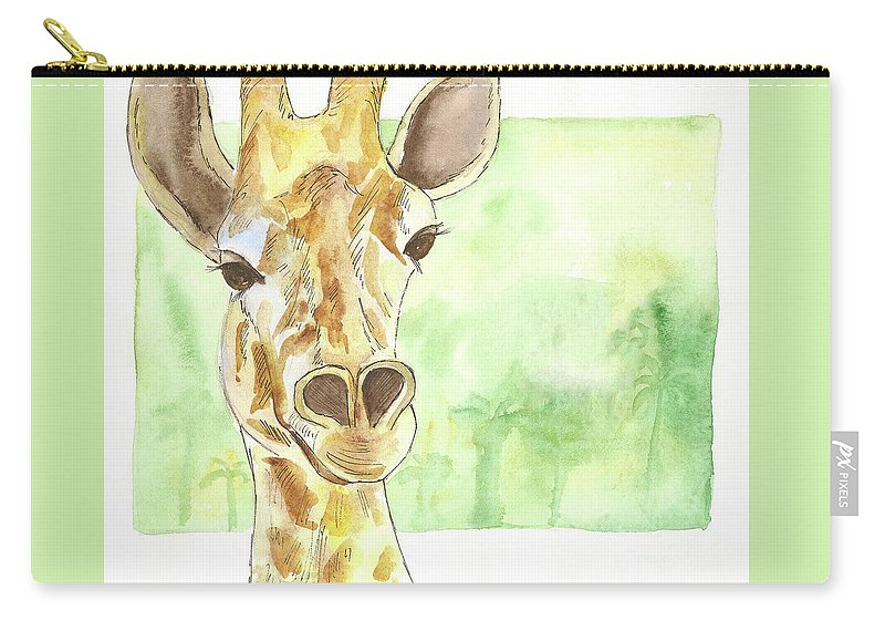 Giraffe Carry-all Pouch featuring the painting Giraffe by Yana Sadykova