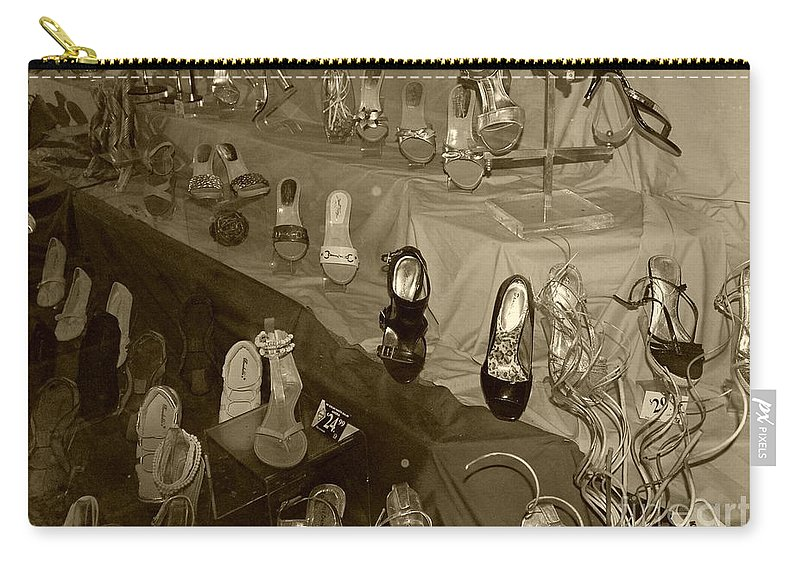 Shoes Carry-all Pouch featuring the photograph Girl Cant Have Enough Shoes by Debbi Granruth