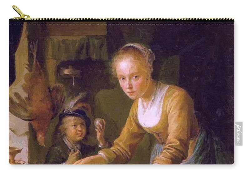 Girl Carry-all Pouch featuring the painting Girl Chopping Onions by Dou Gerrit