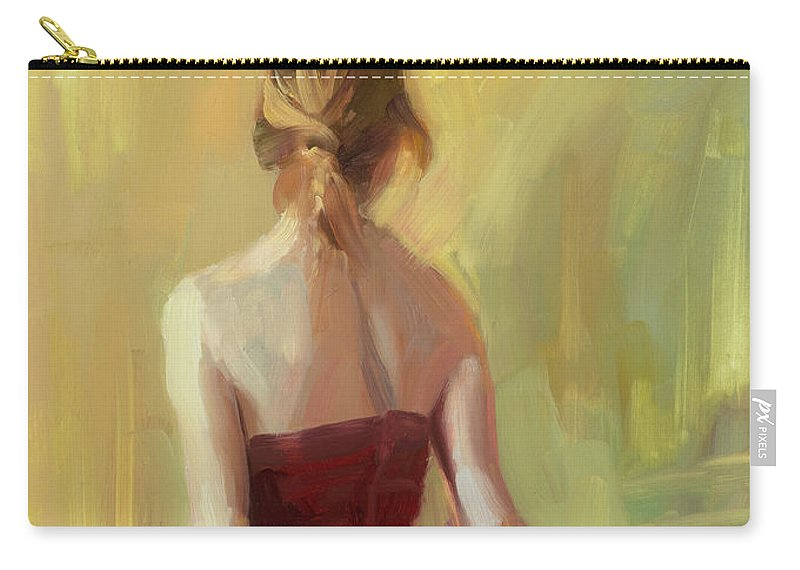 Girl Carry-all Pouch featuring the painting Girl In A Copper Dress I by Steve Henderson