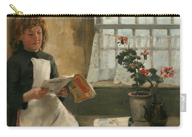 Girl In A Cottage Window Carry-all Pouch featuring the painting Girl In A Cottage Window by Norman Garstin