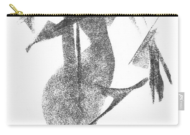 Pencil-art Carry-all Pouch featuring the drawing Girl, In Abstract by Rick Yost