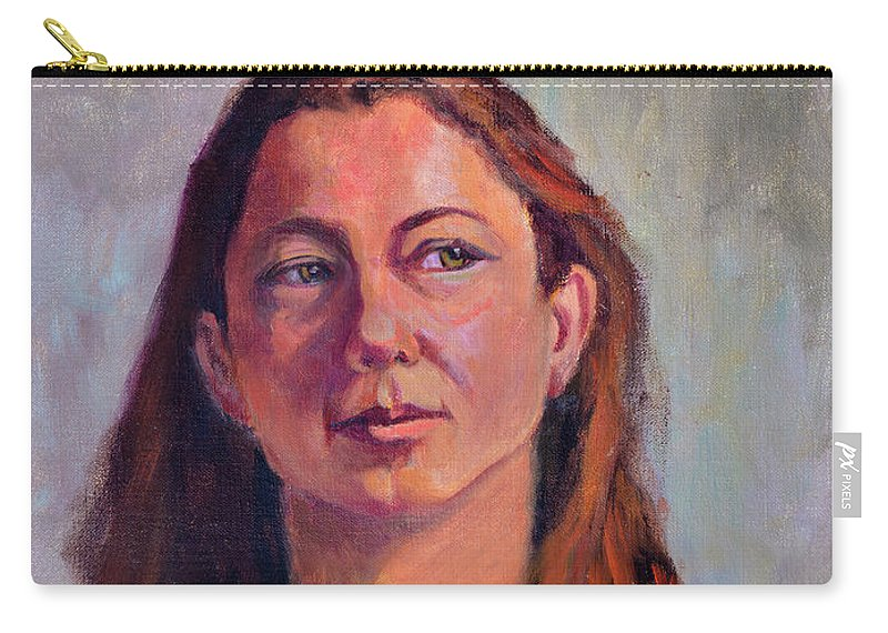Portrait Carry-all Pouch featuring the painting Girl In Purple by Keith Burgess