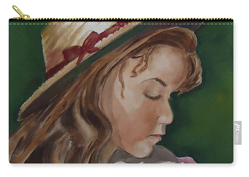 Girl Carry-all Pouch featuring the painting Girl In Ribboned Straw Hat by Charme Curtin