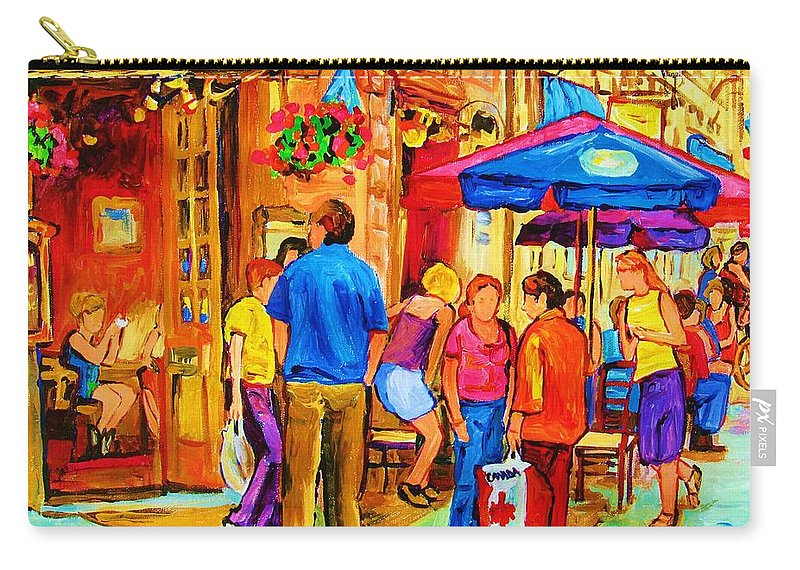 Montreal Cafe Scenes Carry-all Pouch featuring the painting Girl In The Cafe by Carole Spandau