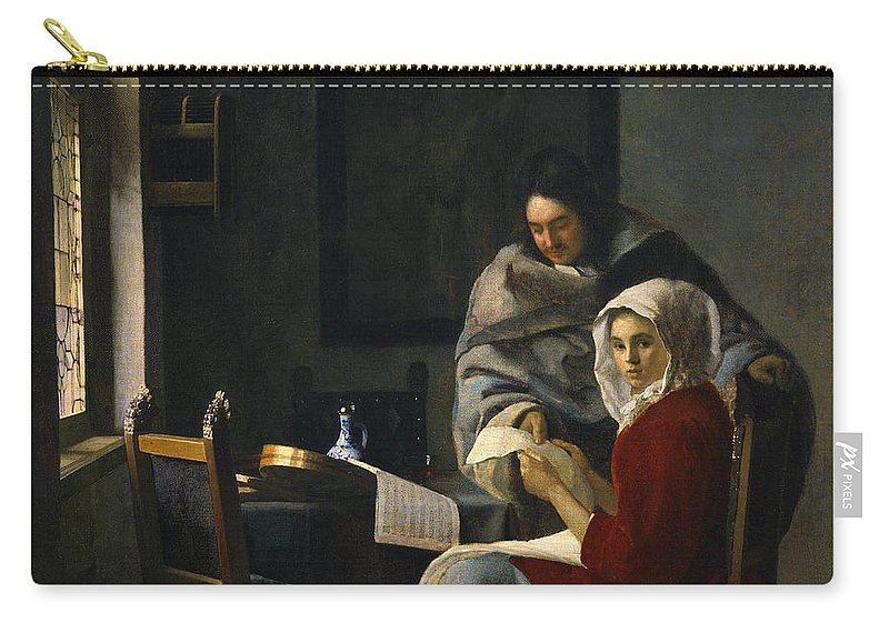 Jan Vermeer Carry-all Pouch featuring the painting Girl Interrupted At Her Music by Jan Vermeer