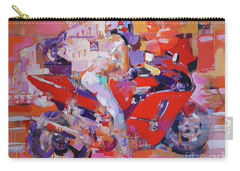 Girl Carry-all Pouch featuring the painting Girl On Red Bike by Dima K