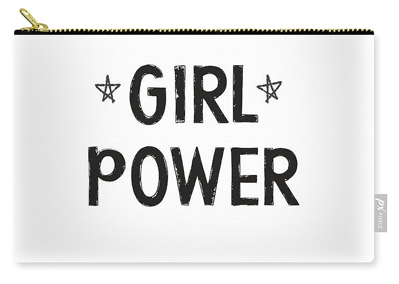 Girl Power Carry-all Pouch featuring the digital art Girl Power- Design by Linda Woods by Linda Woods