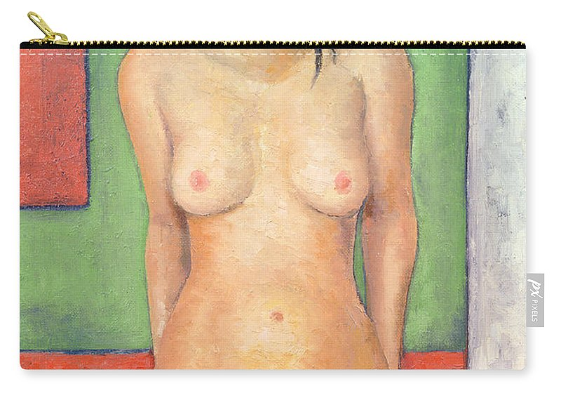 Female Carry-all Pouch featuring the painting Girl Standing By Abstract by Brian Irving