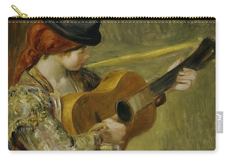Impressionist; Impressionism; Portrait; Female; Music; Musician Carry-all Pouch featuring the painting Girl With A Guitar by Pierre Auguste Renoir
