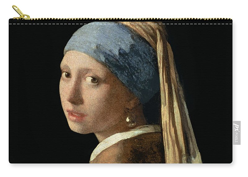 Jan Vermeer Carry-all Pouch featuring the painting Girl with a Pearl Earring by Jan Vermeer